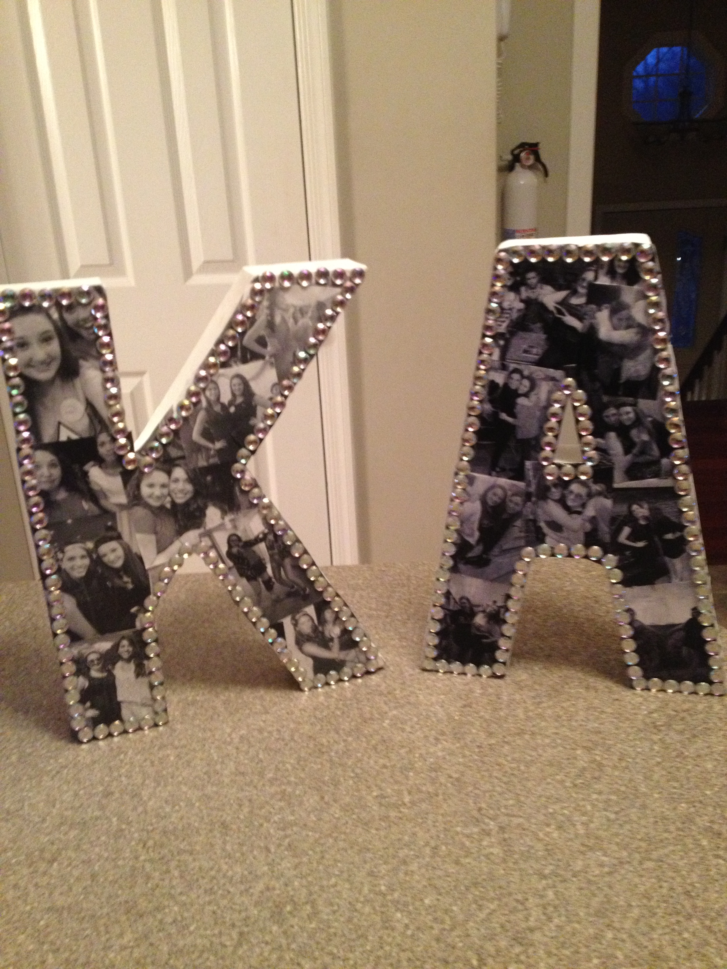 Diy bejeweled photo collage letters sparkle and shine for Cute small gifts for friends