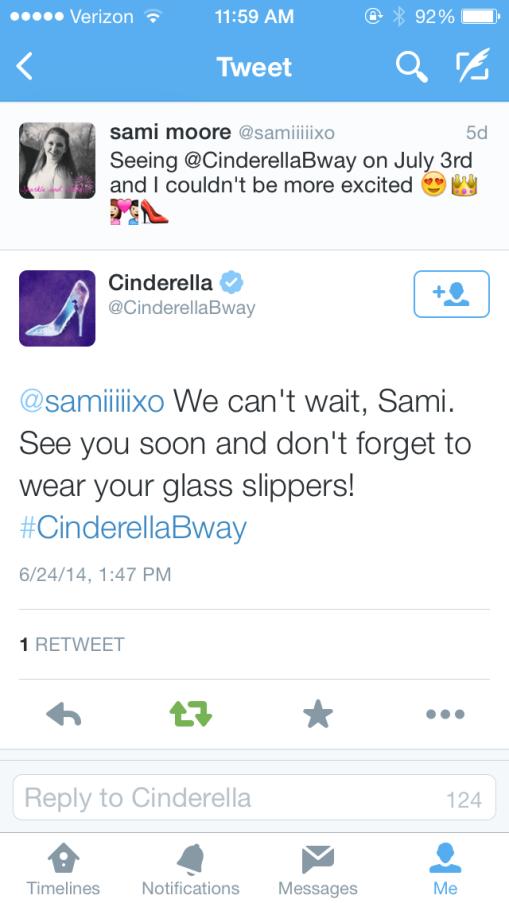 cinderella bway tweet